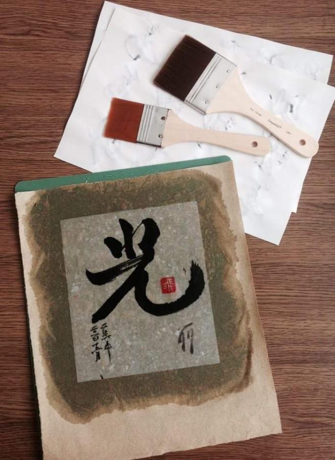 Учимся подклеивать работы, выполненные на рисовой бумаге. на фото: каллиграфия Ларисы Романовской