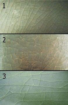 Различали несколько видов рисунка трещин: потрескавшийся лед - 冰裂纹片; рыбья чешуя - 鱼鳞状蚊片; горизонтально ориентированный цек - «крыло цикады».