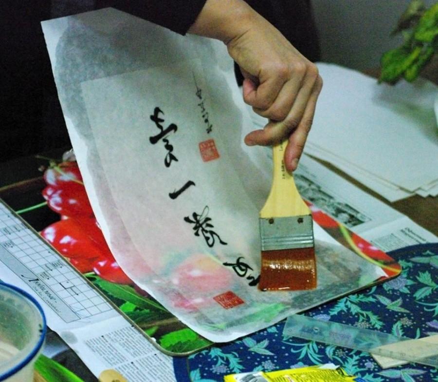 Осваиваем технику подклейки рисовой бумаги